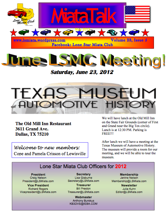 the June Lone Star Miata Club newsletter.